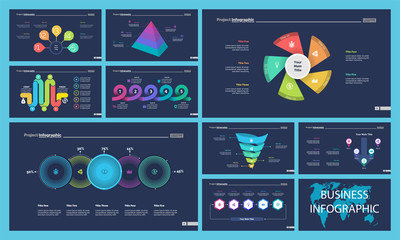 Set of workflow or teamwork concept infographic charts. Business diagrams for presentation slide templates. For corporate report, advertising, banner and brochure design.