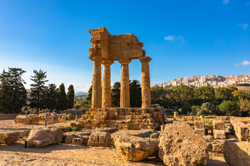 Temple of Dioscuri (Castor and Pollux). Famous ancient ruins in Valley of Temples, Agrigento, Sicily, Italy. UNESCO World Heritage Site.