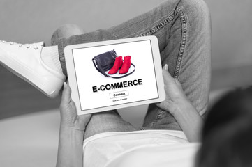 E-commerce concept on a tablet