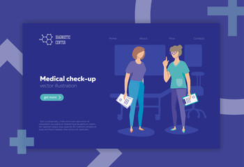 Doctor and patient, vector illustration, flat style. Medical check-up, diagnostics. Layout for website.