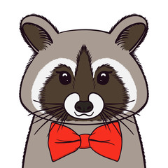 Cute Racoon with bow-tie. Print for fabric, t-shirt, poster. Vector illustration