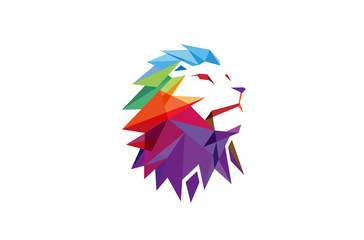 Creative Abstract Colorful Lion Logo Vector Illustration