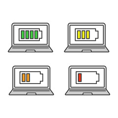 Laptop battery charging color icons set