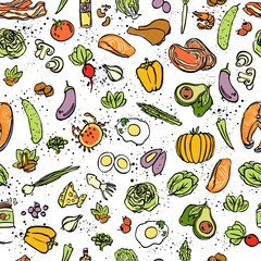 Ketogenic food vector seamless pattern, sketch. Healthy keto food - fats, proteins and carbs on endless vector pattern. Seamless Background with Low carbs keto diet food objects. Keto seamless pattern