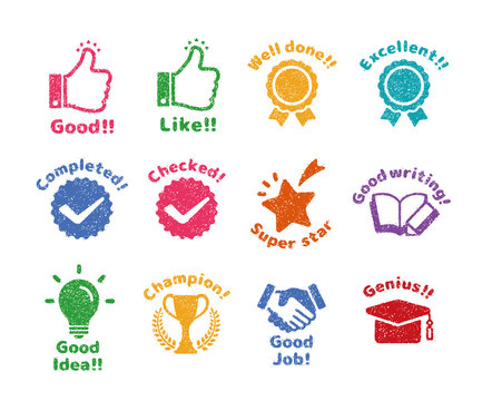 rubber stamp icon set (for teachers using at school) / color version