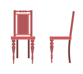 Flat design icon of chair. Vector. Illustration.