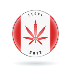 Cannabis on Canada flag in circle icon. Marijuana Legalization in Canada. Vector stock sign Legalize Canabis.