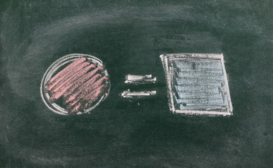 Equality as inequality concept symbol drawn on chalkboard, blackboard background and texture