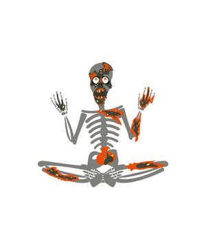 Zombie skeleton in yoga meditation pose. Halloween party design template.