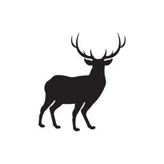 Deer icon illustration on white backdrop