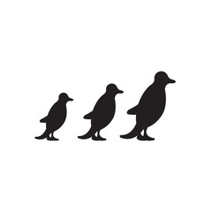 Vector image  of penguins' silhouettes
