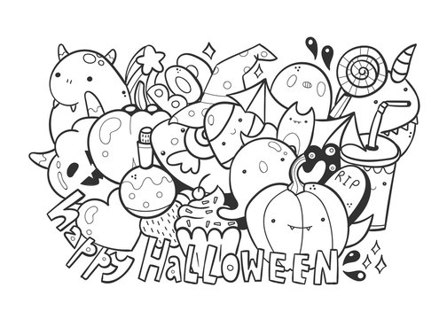 Happy halloween. Cute monsters. Doodle coloring page. Hand drawn vector illustration