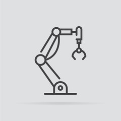 Industrial robot icon in flat style isolated on grey background.