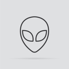Alien icon in flat style isolated on grey background.