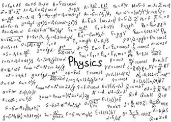 Physics formulas drawn by hand on a white chalkboard for the background. Vector illustration.