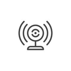 Broadcasting webcam icon. Web camera and sound waves label. Blogging, vlogging, online translation concept pictograph