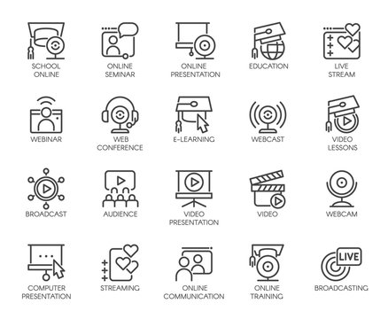 Line icons of webinars, online education. web conferences. Internet technologies and communications label series
