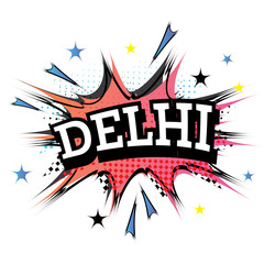 Delhi Comic Text in Pop Art Style.