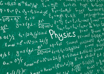 Physics white formulas drawn by hand on a green chalkboard in perspective for the background. Vector illustration.