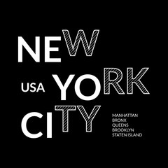 New York city style slogan or typography print design. NYC fashion graphic for t-shirt and apparels, banner, poster or placard. Vector illustration.
