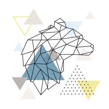 Geometric Bear silhouette on triangle background. Polygonal Wolf emblem. Vector illustration.