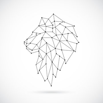 Geometric Lion silhouette. Image of Lion in the form of constellation. Vector illustration.