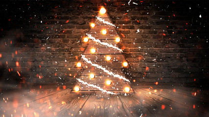 Christmas tree with lights on the wooden floor, lights, lights, lights, glare, smoke. Christmas tree made of wood, New Year's loft, light object, interior decor. Abstract dark background, night view,  Fotomurales