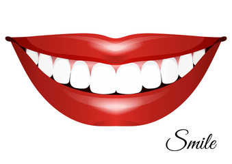 Drawing a white-toothed smile. Vector illustration.