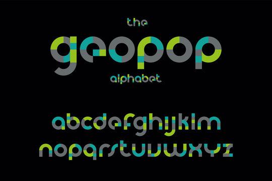 Modern bold geometric font vector