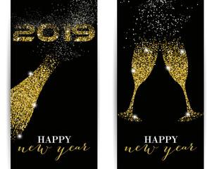 2019, Happy New Year, Gold, Glitter