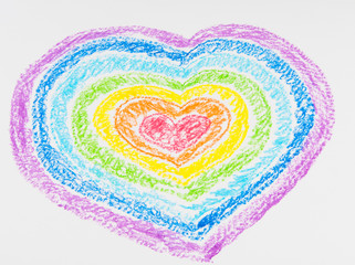 Children's drawing of the heart with colored pencils.