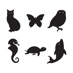 Cat, butterfly, owl, sea horse, turtle, dolphin