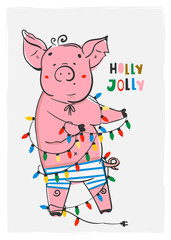 Holly jolly greeting card. Cute little piggy with garland. Colored vector illustration