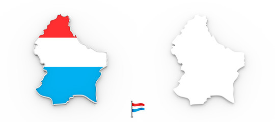3D map of Luxembourg white silhouette and flag
