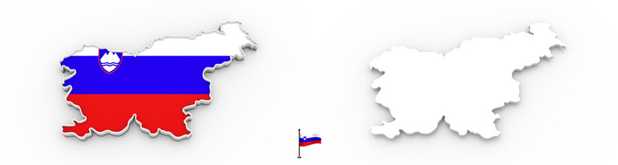 3D map of Slovenia white silhouette and flag