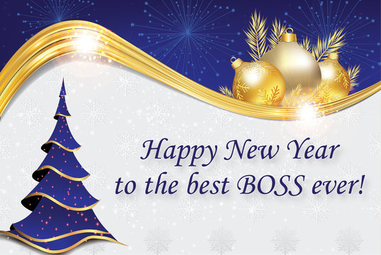Happy New year to the best boss ever! Blue and golden corporate greeting card designed for the New Year celebration