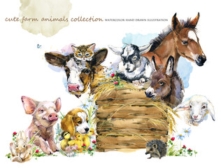 watercolor farms animal collection.
