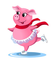 Cute pink skating piggy. Vector illustration.