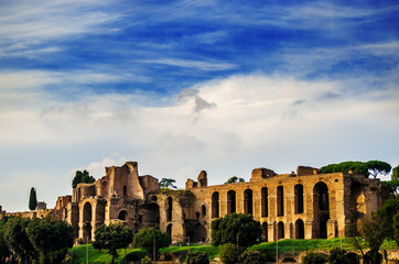 The ruins of Chirko Massimo under the blue sky of Rome. Italy