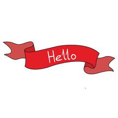 Ribbon red banner stroke black symbol on white background merry hello