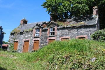 Old stone house ruin overlooking the sea on the Irish Coast