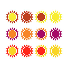 Set of colorful suns isolated on white background