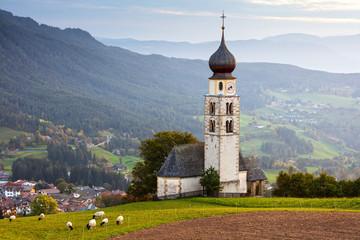 Black head sheep graze by a church in Alps