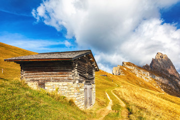 Wooden shed in the Alps