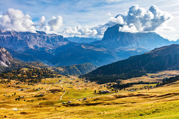 Val Gardena mountain view in Dolomite Alps