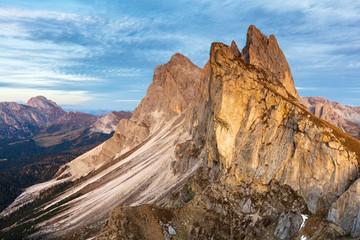 Remarkable alpean peak at sunset