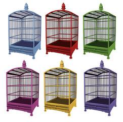 cage vide, en couleur, jolie, décoration, bleu, rouge, vert, jaune, rose, jardin