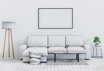 mock up poster frame in interior room , 3D render