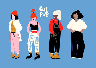 Girl power. Four fashion girls. Colored vector set. Blue background. All elements are isolated Wall mural