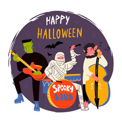 Halloween monsters music band. Hand drawn vector illustration